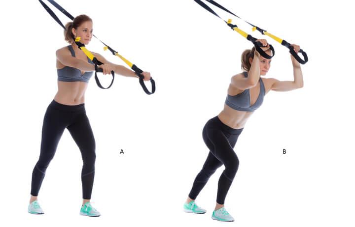 Trizeps strecken als Schlingentrainer Übung