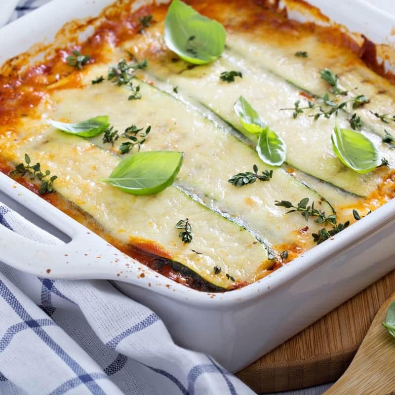 Zucchini Lasagne als Abendessen zum Abnehmen
