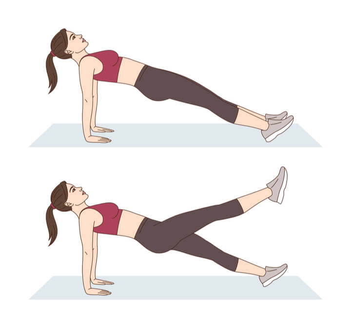 Reverse Planks mit Kick im HIIT Workout
