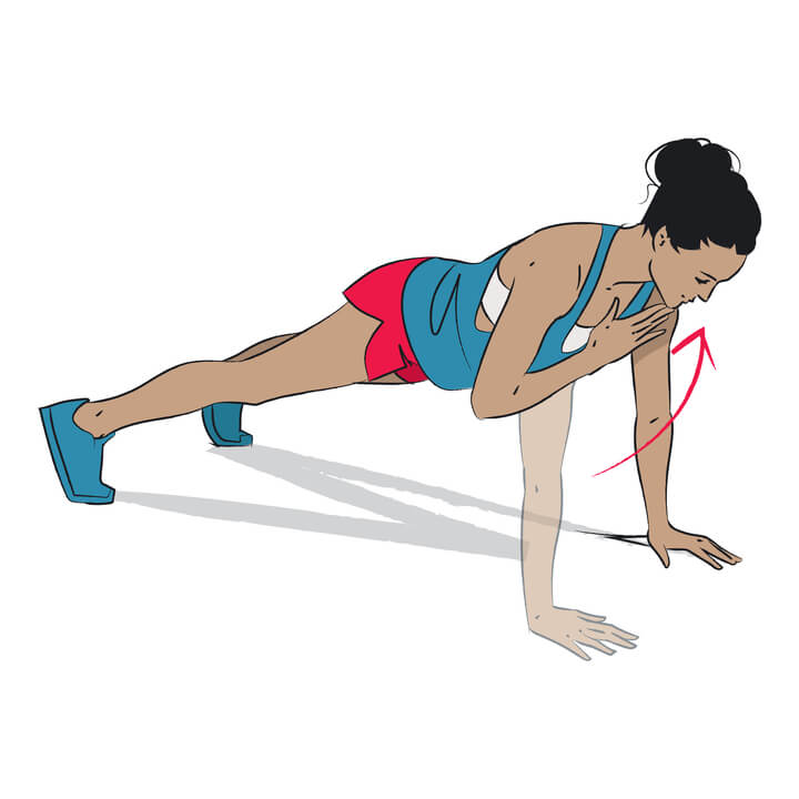 High Planks mit Shoulder Tap gegen Winkearme