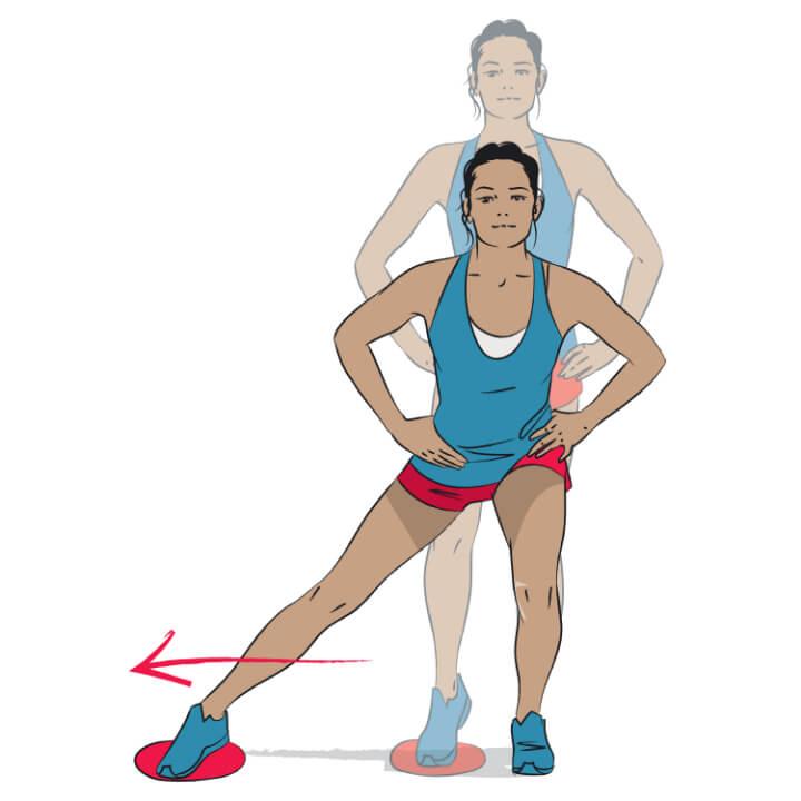 Seitlicher Ausfallschritt für dünnere Oberschenkel