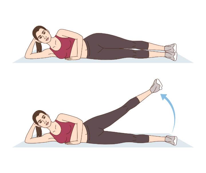 Seitliches Beinheben als Übung für dünnere Oberschenkel