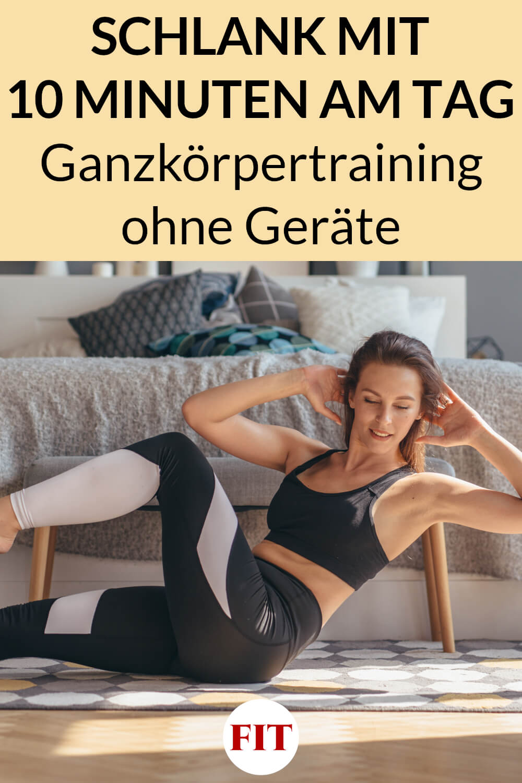 Frau macht zuhause ein Ganzkörper Workout