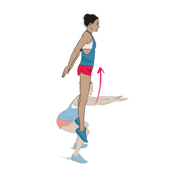 Frau macht Kniebeugen mit Spring
