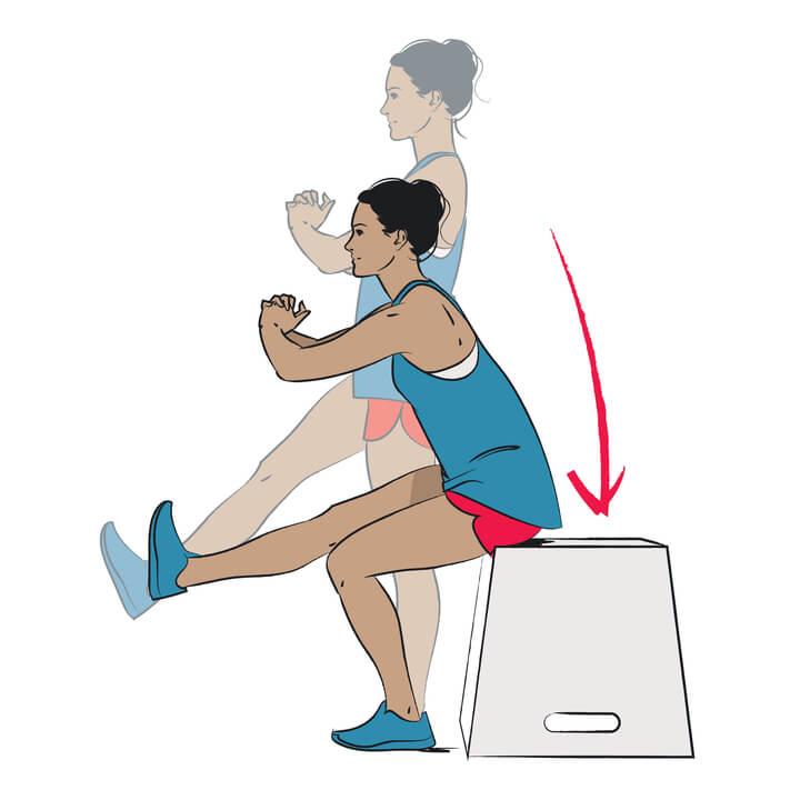 Frau macht einbeinige Kniebeugen
